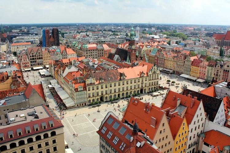 Vista de la Plaza del Mercado desde lo alto de la Iglesia de Santa Isabel (Wroclaw)