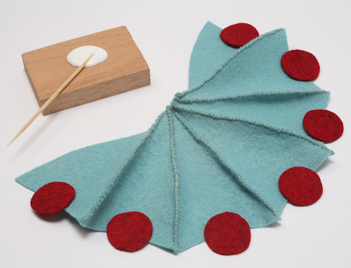 6. Stitch pieces-glue dots