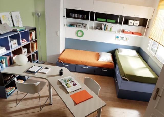 Camas en l for Habitacion juvenil 2 camas