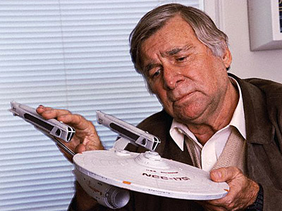 Gene Roddenberry with Model of Starship Enterprise --- Image by © Douglas Kirkland/CORBIS