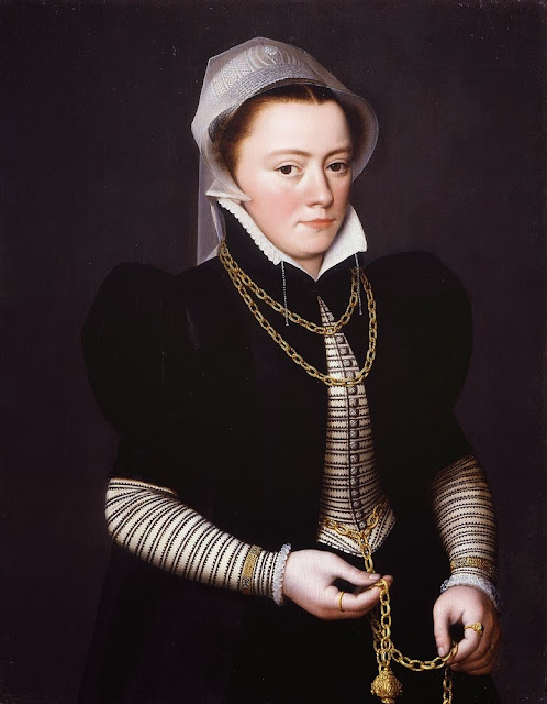 Pieter Pourbus - An Unknown Lady, Holding a Pomander on a Gold Chain