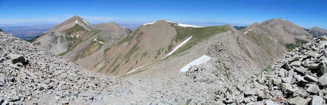Panorama from the Mount Peale ridge, with Mount Tukuhnikivatz on the left and Mount Mellenthin on the right