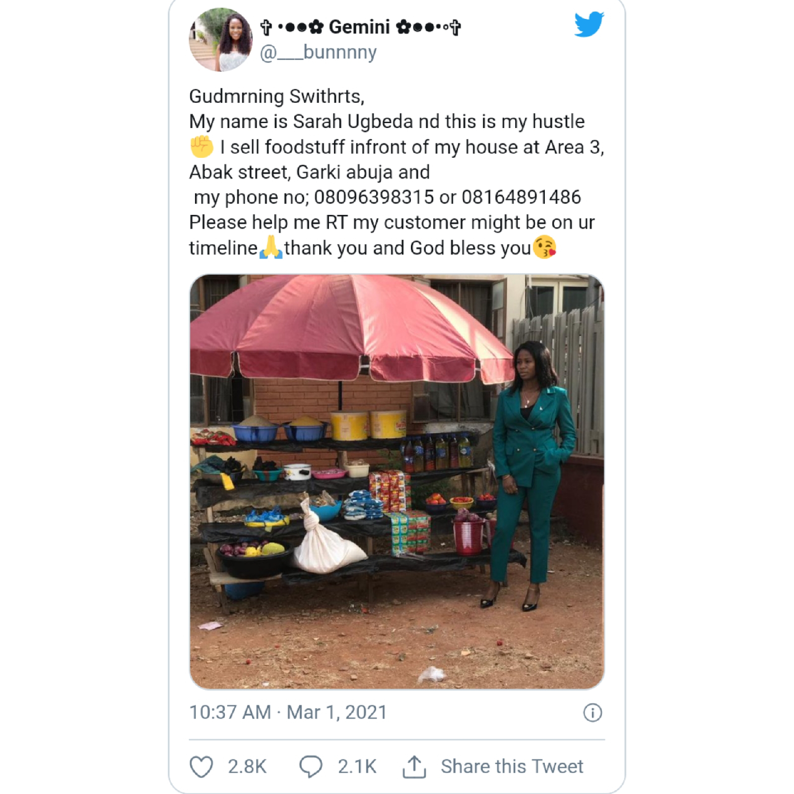Abuja Lady goes Viral as she rocks corporate outfit to sell foodstuff