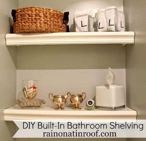 DIY Built-In Bathroom Shelving