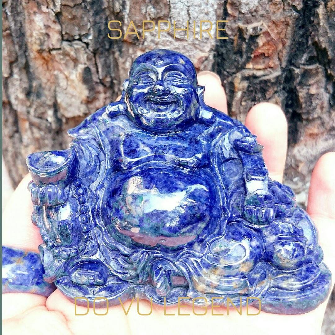 Đá quý Sapphire chế tác Phật Di Lạc để bàn