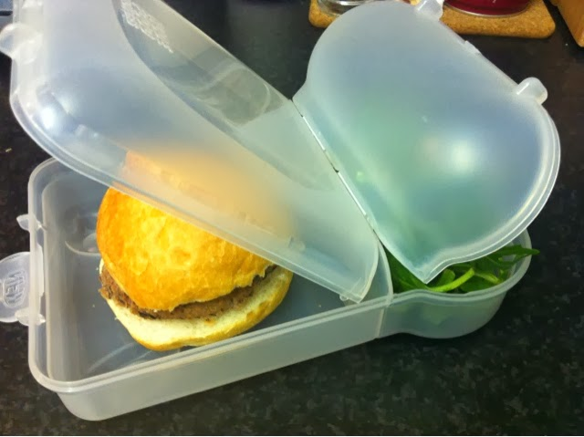 high protein, low fat black bean burger in my nude food mover lunchbox