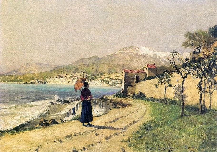 Evariste Carpentier - Promenade en bord de mer (Menton, 1888).
