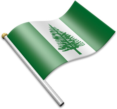 The Norfolk Island flag on a flagpole clipart image