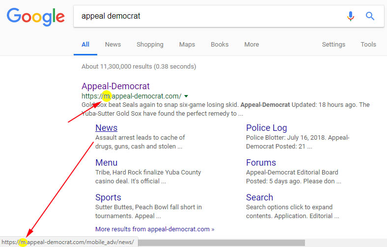 Google Search Results By Desktop Users Only Link To Mobile