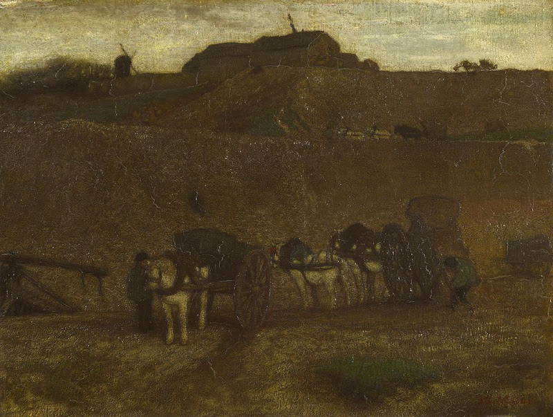 Matthijs Maris - Men unloading Carts, Montmartre, 1870.