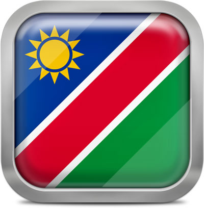 Namibia square flag with metallic frame