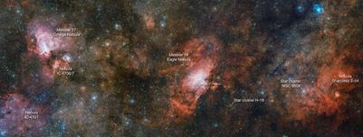 três nebulosas numa só imagem