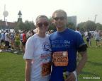 Hot, sweaty Mike and I, post-race
