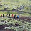 Climbing to scoria cone, near Landmannalaugar.