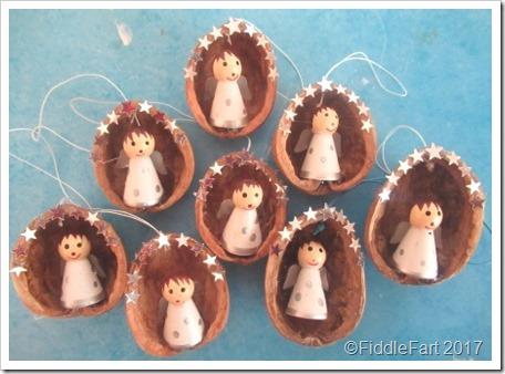 Angels in Walnut Shells Christmas Tree Decorations