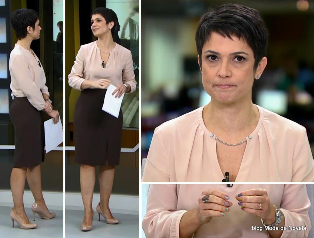 moda do programa Jornal Hoje - look da Sandra Annenberg dia 27 de maio