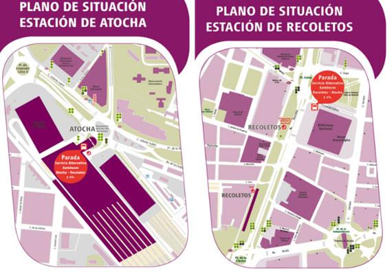 Autobuses EMT que sustituyen a Cercanías Renfe entre Atocha y Recoletos