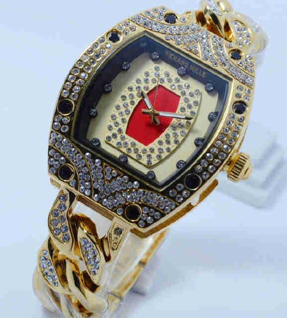 Jual Jam Tangan Richard mille full diamond gold kepang