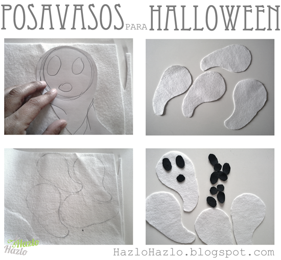 Hacer posavasos fantasma para Halloween.