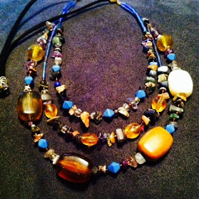multichain costume jewelry handmade necklace in earth tones