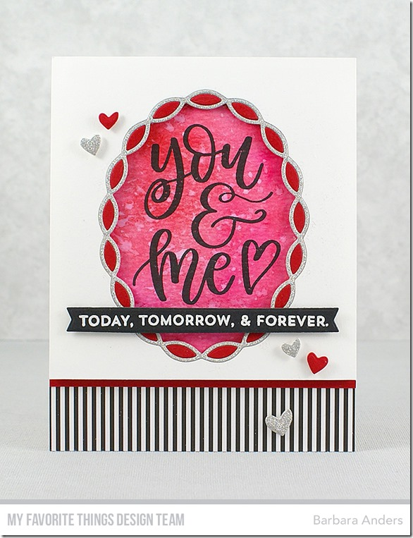 Stamps: 100% Lovable, From the Heart  Die-namics: Linked Chain Oval Frames, Blueprints 30, Tag Builder Blueprints 5   Barbara Anders   #mftstamps