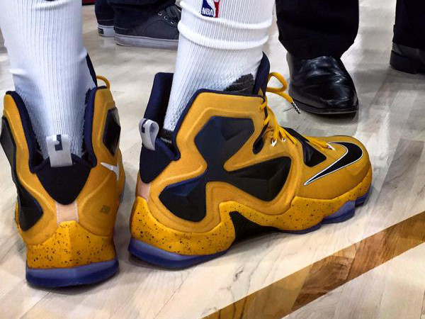 King James Sports YellowampNavy LeBron 13s on Media Day