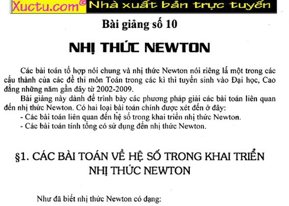 Đại số tổ hợp- Nhị thức NewTon-Đại số 11
