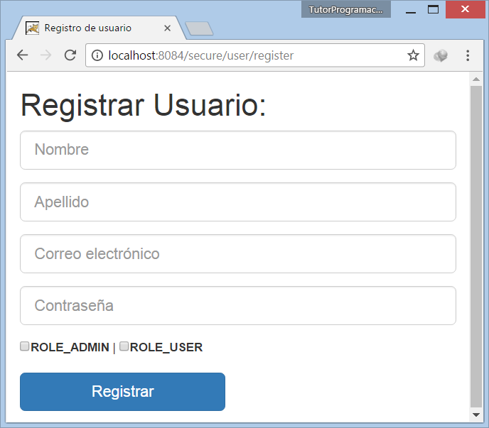 Tutorial Spring Security Formulario de Registro de Usuarios