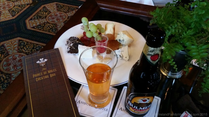 Ashford Castle Cheese plate in Prince of Wales Bar. Ireland for Foodies. From Ireland Family Vacations