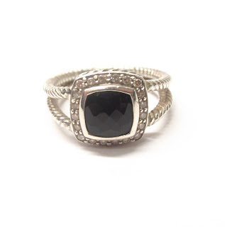 David Yurman Sterling Silver, Diamond, and Black Onyx Ring