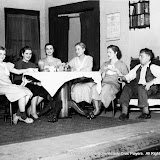 Linda Bock, Betty Huntley, Jean Salisbury, Roberta McWade, Arline Huntington and F. Morley Roberts in ALL IN THE FAMILY - October 1933.  Property of The Schenectady Civic Players Theater Archive.