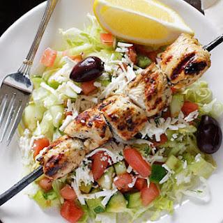 Mediterranean Chicken Kebab Salad.