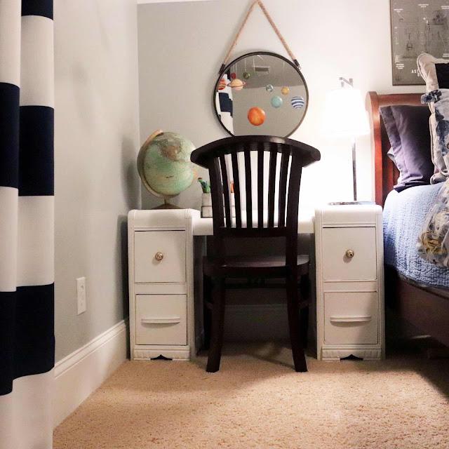 Desk Chair: Strobler Home Furnishings, Columbia, SC Globe: Vintage; Desk:  Vintage Vanity. Stripe Curtains: Amazon