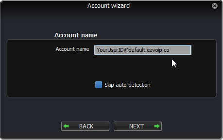 Zoiper Account wizard: Account name