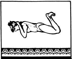Лежа на животе, опереться локтями о пол, кисти рук положить на затылок, ноги согнуть в коленях и пятками стремиться коснуться ягодиц