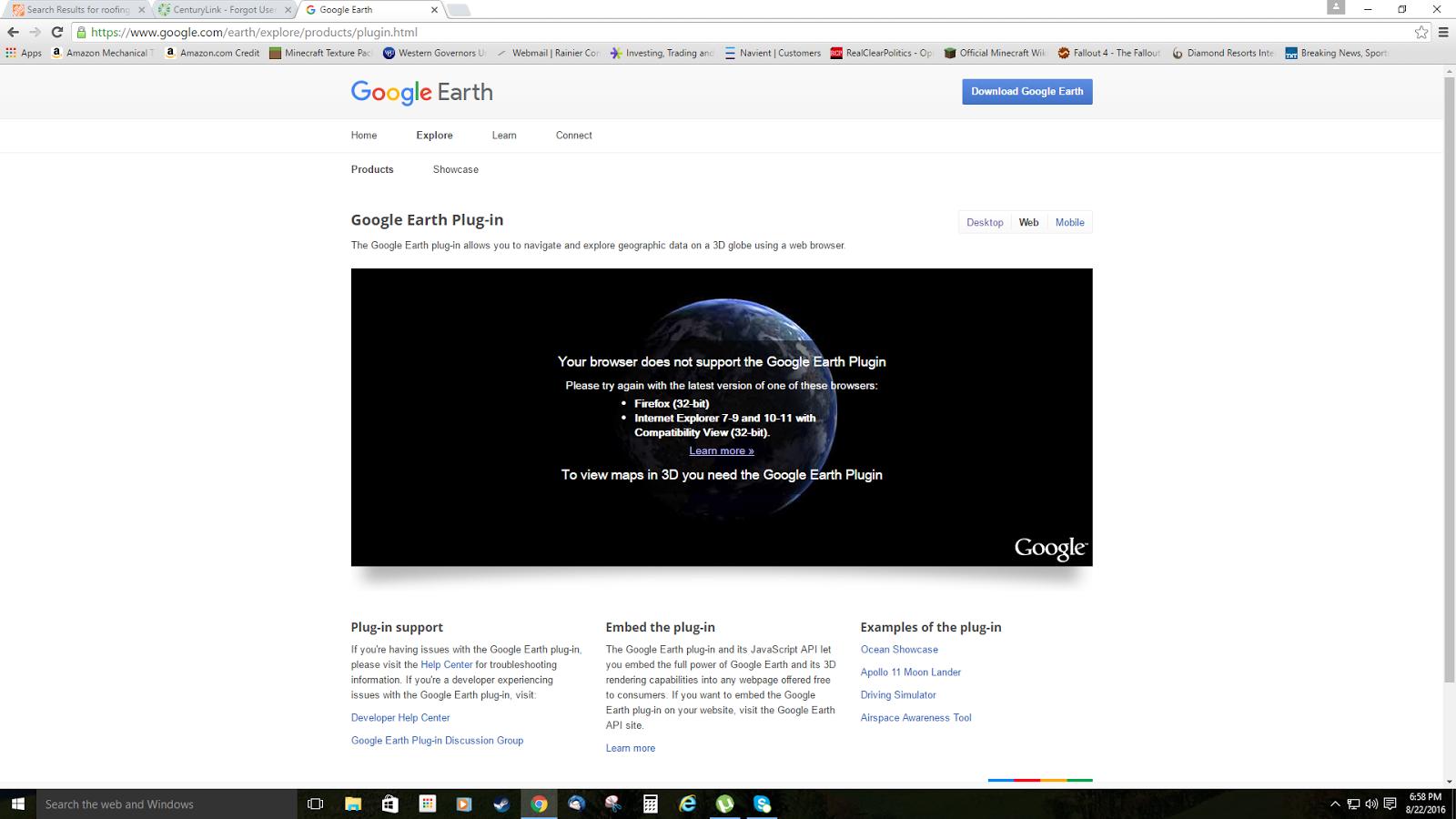 how to use google earth chrome