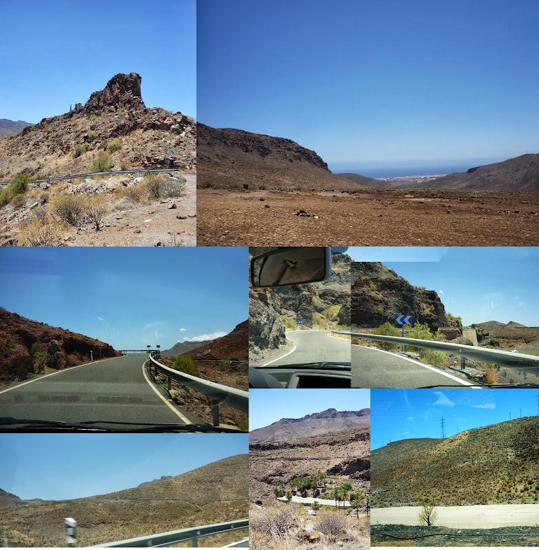 Fotocollage von Bildern von der Straße im wüstenhaften Teil Gran Canarias.