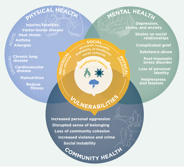 Diagram showing links among physical impacts, mental health, and community well-being under climate and geophysical impacts. Graphic: ecoAmerica / American Psychological Association