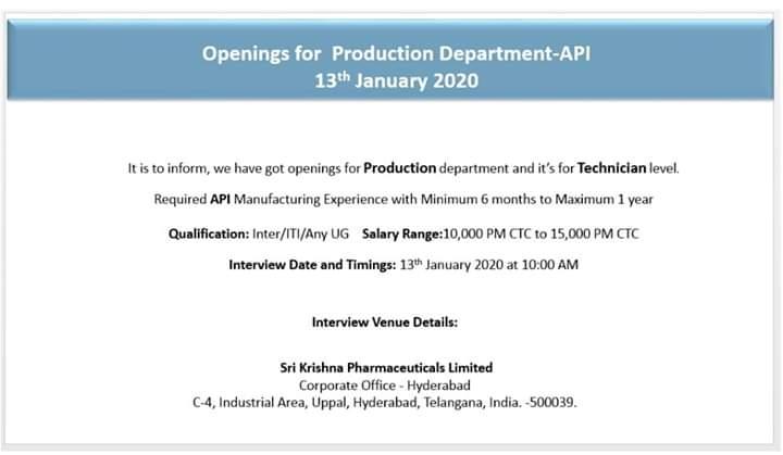 Sri Krishna Pharma - Walk in Interview for Production on 13th Jan 2020