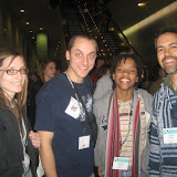"""Lori, Dan, and Judith got a kick out of making an """"instant friend"""" at the World Missions Summit."""