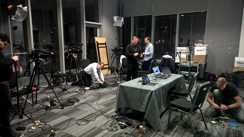Setting up for the recording