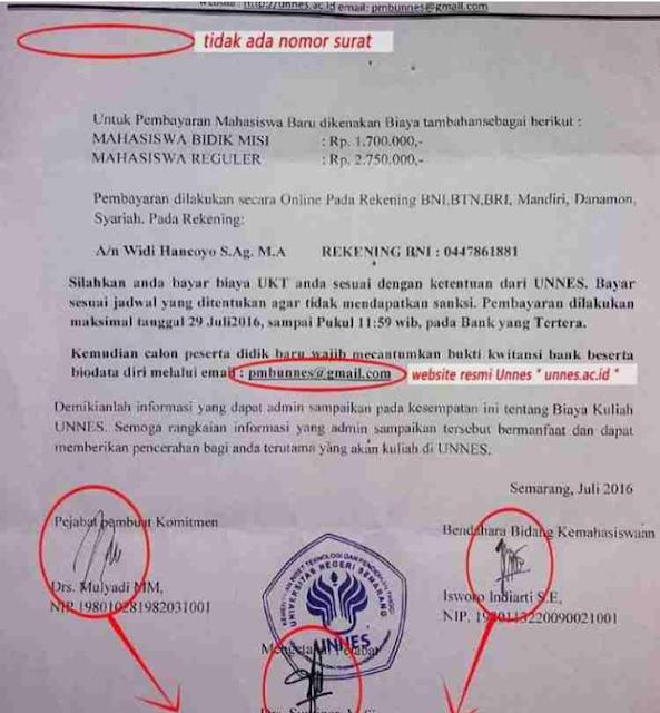 Hati-Hati Penipuan! Di UNNES Semarang ada penipuan pungutan untuk mahasiswa baru berkedok biaya tambahan kuliah