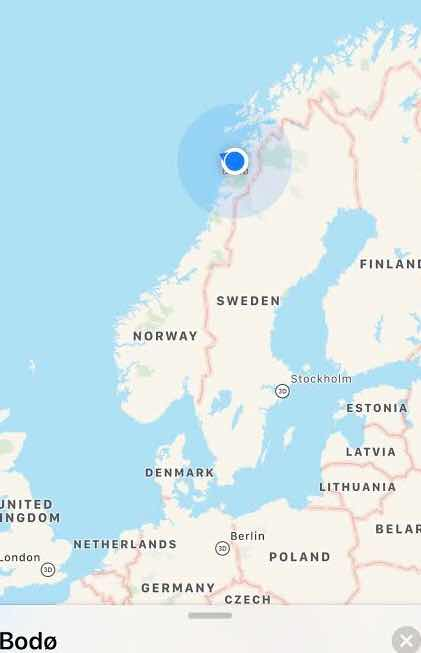Map showing location of Viking Sky as we approach the Arctic Circle (Source: Palmia Observatory)
