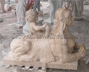 Cherub, Child, Female, Figure, Interior, Marble, Sphinx, Statues