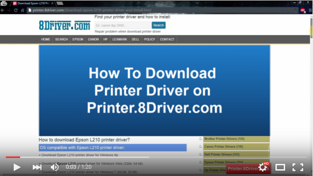 How to get Epson ELPDC20 printer driver