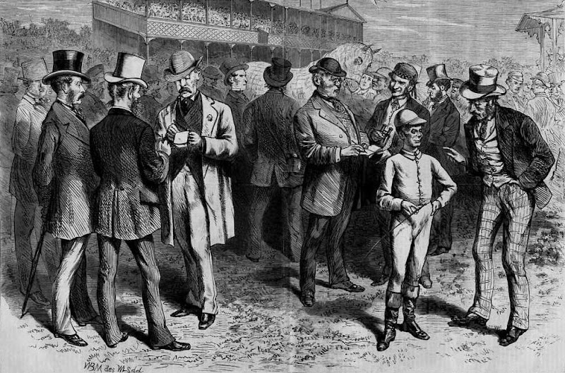 Bookies get to work ---Betting on the Favorite, a wood engraving drawn by W. L. Sheppard (from a sketch by W. B. Myers) and published in Harper's Weekly, October 1870.