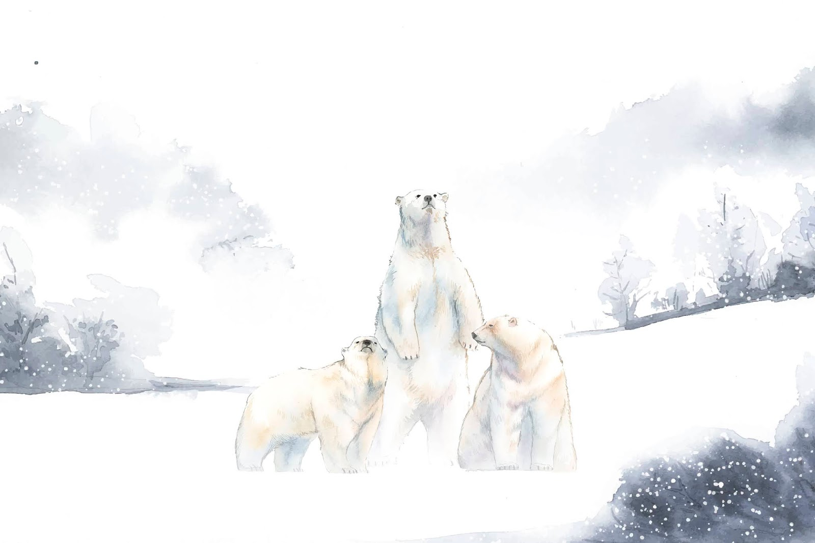 Polar Bears Snow Watercolor Vector Free Download Vector CDR, AI, EPS and PNG Formats