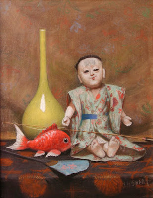 """Still life with Japanese doll, vase and fish"""