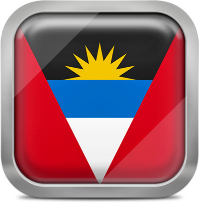 Antigua and Barbuda  square flag with metallic frame