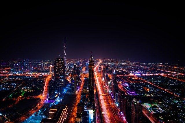 dubai skyscraper city lights